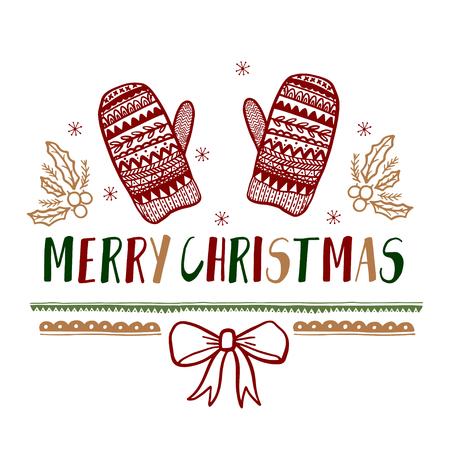 Cadeaux de Noël Cartes Affiches. Vacances de décoration de typographie. Modèle de voeux Scrapbooking, Félicitations, Invitations, Autocollants, Planners.Vector illustration