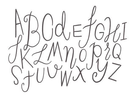 Brush ink vector ABC upper and lower case letters set. Doodle comic font for your design. Vector illustration Illustration
