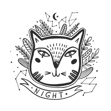 Happy cat drawing. Style drawing doodle. Mystic kitty art. Vector illustration. Illustration