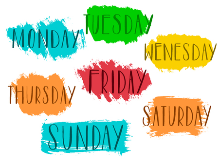 Handwritten days of the week monday, tuesday, wednesday, thursday, friday, saturday sunday calligraphy.Lettering typography Vector illustration