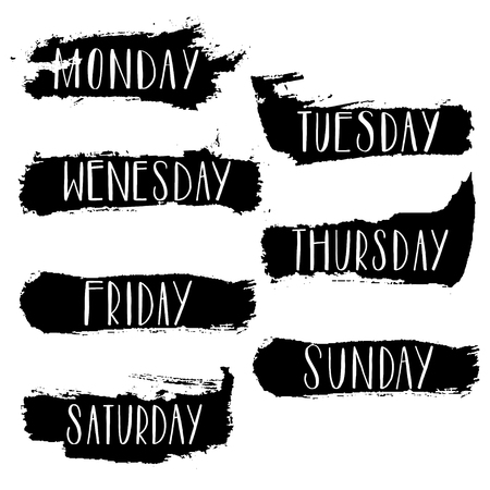 Days of the week monday, tuesday, wednesday, thursday, friday, saturday, sunday.Calligraph Lettering typography. Vector illustration Illustration