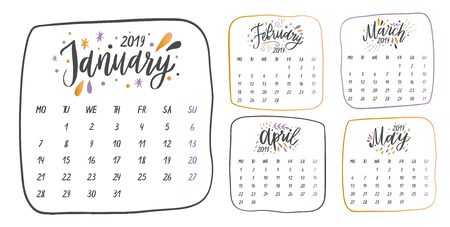 Handwritten names of months: January, February, March, April, May.Calligraphy words for calendars and organizers. Vector illustration