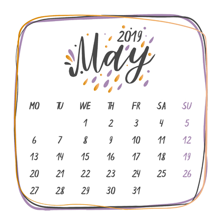 Handwritten names of months:May Calligraphy words for calendars and organizers. Vector illustration