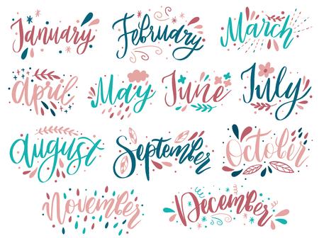 Handgeschriebene Monatsnamen: Dezember, Januar, Februar, März, April, Mai, Juni, Juli, August September Oktober November Kalligraphiewörter für Kalender und Organisatoren Vektorillustration