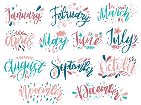 Handwritten names of months: December, January, February, March, April, May, June, July, August September October November Calligraphy words for calendars and organizers Vector illustration