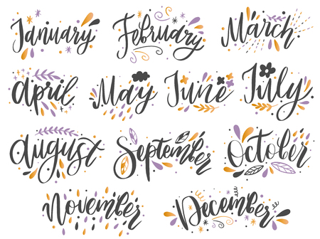 Handwritten names of months: December, January, February, March, April, May, June, July, August September October November Calligraphy words for calendars and organizers.Vector illustration
