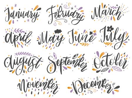 Nomi scritti a mano dei mesi: dicembre, gennaio, febbraio, marzo, aprile, maggio, giugno, luglio, agosto settembre ottobre novembre Parole di calligrafia per calendari e organizzatori. Illustrazione vettoriale Vettoriali