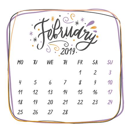 Handgeschriebene Monatsnamen: Februar Kalligraphiewörter für Kalender und Organisatoren. Vektor-Illustration