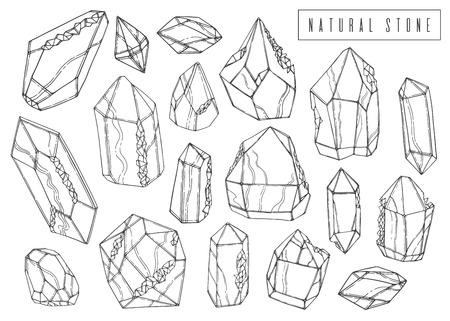 Set natural ink set. Mineral crystal collection. Line hand drawn design. Sketch style. Vector illustration.