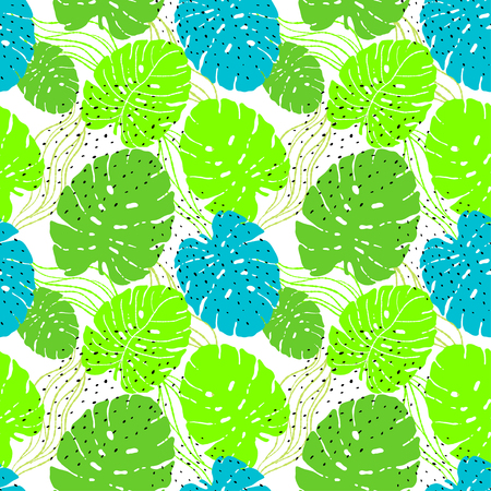 Tropical Leaves neon trend monstera. Seamless Pattern with Hand Drawn Leaves of Monstera. Exotic Rapport for Textile, Fabric. Vector Seamless Background with Tropic Plants. Jungle Foliage.Fashion illustration.