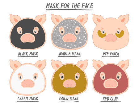 Set mask face beauty animal pig girl and women. Skin spa procedure, cosmetic clean. Head full face, cartoon style.Vector illustration.