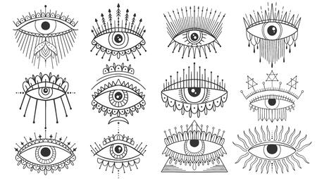 Evil Seeing eye symbol set. Occult mystic emblem, graphic design tattoo. Esoteric sign alchemy, decorative style, providence sight. Vector illustration.