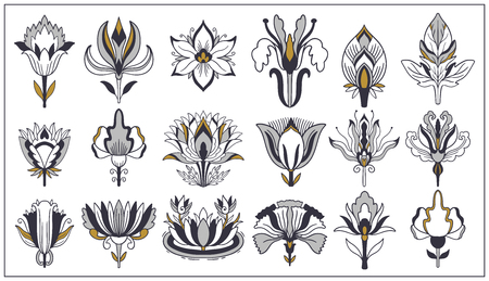 Art nouveau and art deco floral ornaments, modern flower vintage elements. Retro decoration style. Symbol tattoo. Vector illustration.