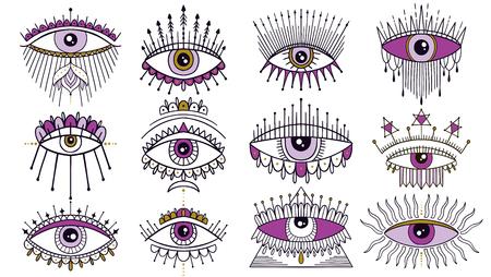 Jeu de symboles de mauvais œil. Emblème mystique occulte, tatouage de conception graphique. Alchimie des signes ésotériques, style décoratif, vue providentielle. Illustration vectorielle.