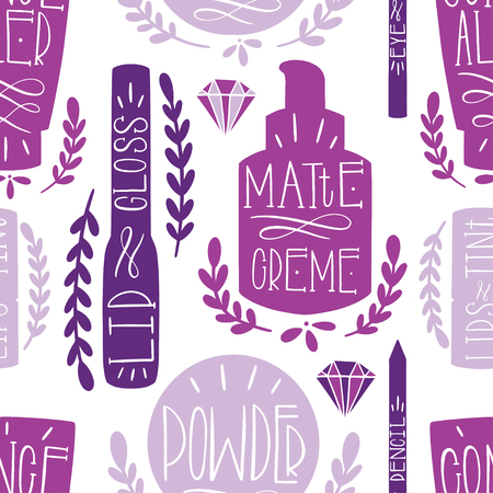 Beauty cosmetic makeup seamless pattern hand draw. Label Hand made production. Vector illustration Vettoriali
