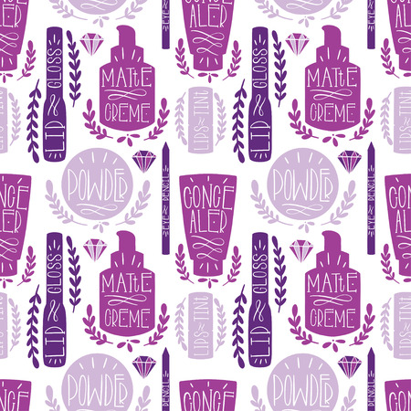 Beauty cosmetic makeup seamless pattern hand draw. Label Hand made production. Vector illustration Ilustração