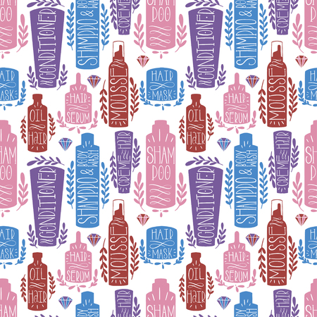 Hair skin bottle seamless pattern hand draw. Shape cosmetic product. Beauty shampoo. Vector illustration.