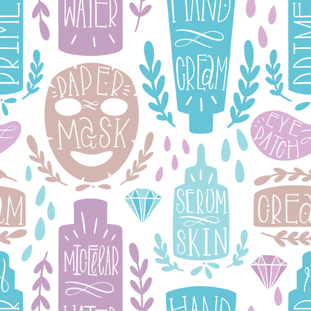 Skin care seamless pattern hand draw. Shape cosmetic product. Label Home production. Vector illustration