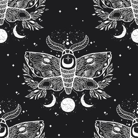 Vector nahtloses Muster mit Motte butterfly.Hand-Draw-Illustration. Tattoo-Kunst entwerfen. Mit mystischen und okkulten handgezeichneten Symbolen. Dekorationszeichnung.