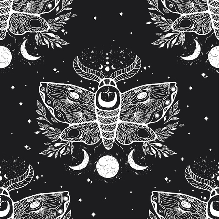 Vector seamless pattern with moth butterfly.Hand-draw illustration. Design tattoo art. With mystic and occult hand drawn symbols. Decoration drawing.