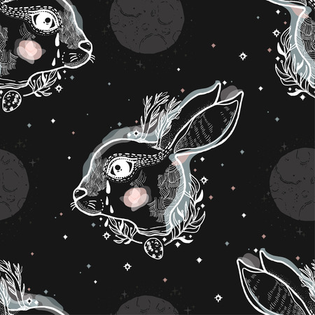 Seamless pattern sketch graphic illustration rabbit magic with mystic and occult hand drawn symbols. Vector illustration Illustration