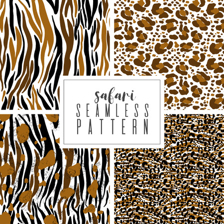 Seamless abstract pattern set art. Texture with Hand Painted Crossing Brush Strokes for Print. Animal fur texture background. Modern graphics. Vector illustration. Ilustracja