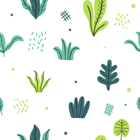 Leaves flat set. Seamless pattern Tropical plants isolated on white background. Nature simple green floral. Minimal style fantasy. Vector illustration.