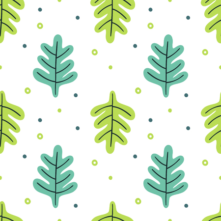 Leaves flat set. Seamless pattern Tropical plants isolated on white background. Nature simple green floral. Minimal style fantasy. Vector illustration. Stock Illustratie