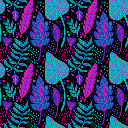 Seamless floral pattern with a fantasy design with exotic flowers and tropic leaves on a black background. The elegant the template for fashion prints. Vector illustration