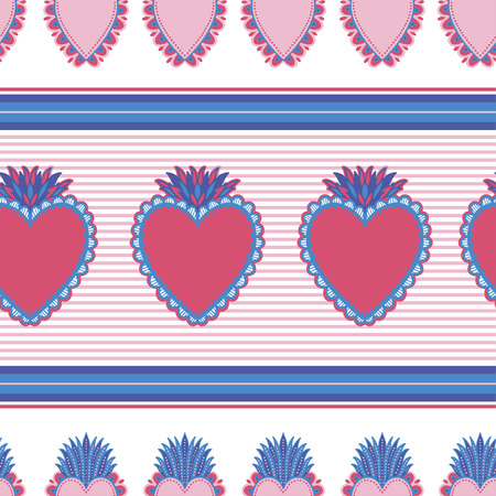 Seamless pattern Sacred mexican spirit color. Soul symbol religion. Decoration emblem holy heart.Sacramental religion.Vector illustration. Illustration