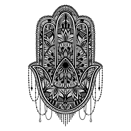 Hamsa talisman religion Asian. Black color graphic in white background. Symbol of protection and talisman against the evil eye.Tattoo motif.Vector illustration Vektorové ilustrace