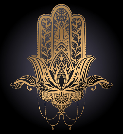 Hamsa talisman religion Asian. Gold gradient color graphic in black background. Symbol of protection and talisman against the evil eye.Tattoo motif.Vector illustration