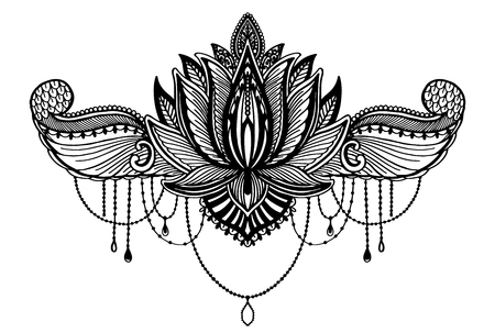 Lotus flower ethnic symbol.Black color in white background. Tattoo design motif, decoration element. Sign Asian spirituality,norvana and innocence.Vector illustration.