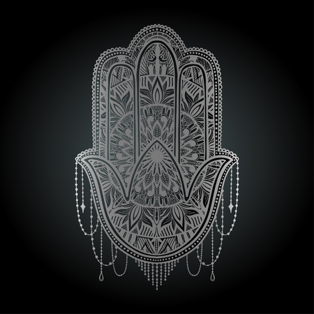 Hamsa talisman religion Asian. Silver color graphic in white background. Symbol of protection and talisman against the evil eye.Tattoo motif.Vector illustration