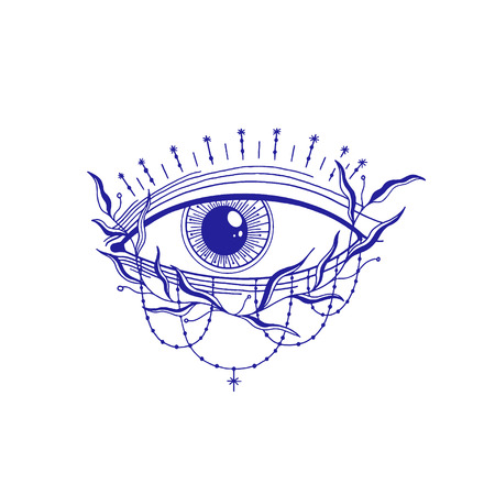 Mystic eye illustration, esoteric sign,magic life. Vintage old style, graphic line. Isolated in white background. Hand drawn vector.