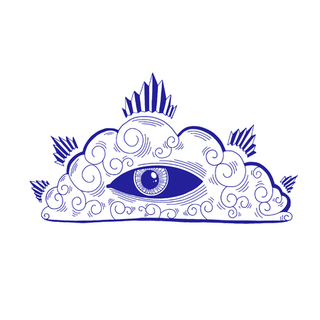 Mystic eye in the cloud illustration, esoteric sign,magic life. Vintage old style, graphic line. Isolated in white background. Hand drawn vector. Foto de archivo - 120880543