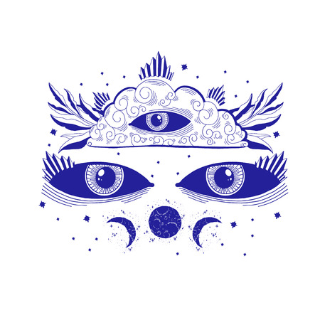 Mystic sight third eye illustration, esoteric sign,magic life. Vintage old style, graphic line. Isolated in white background. Hand drawn vector.
