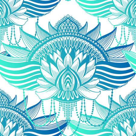 Mandala de flor de loto de patrones sin fisuras de arte. Impresión abstracta étnica. Textura de fondo de repetición colorida. Ornamento bohemio de la cultura Ilustración vectorial