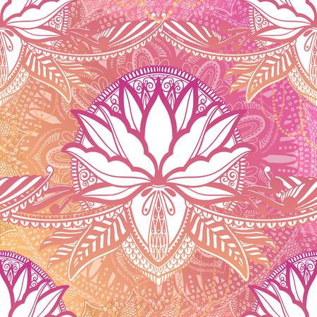 Mandala de flor de loto de patrones sin fisuras de arte. Impresión abstracta étnica. Textura de fondo de repetición colorida. Ornamento bohemio de la cultura Ilustración vectorial Ilustración de vector