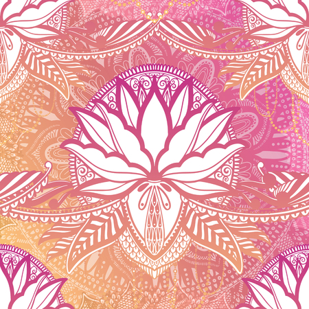 Art seamless pattern lotus flower mandala. Ethnic abstract print. Colorful repeating background texture. Culture bohemian ornament.Vector illustration.