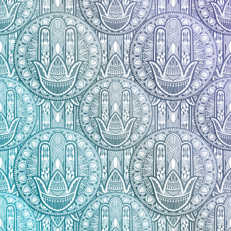 Art seamless pattern hamsa mandala. Ethnic abstract print. Colorful repeating background texture. Culture bohemian ornament.Vector illustration.