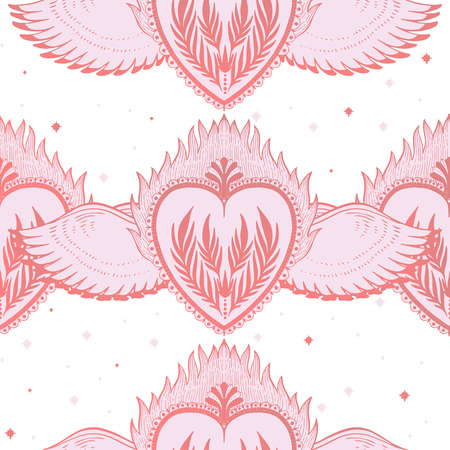 Pattern graphic illustration Beautiful holy heart with mystic and occult symbols. Esoteric boho style. Vector Illustration