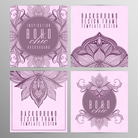 Vector vintage mandala lotus card set pink color. Oriental design Layout. Islam, Arabic, Indian, ottoman motifs. Front page and back page. Ethnic design. Boho chic style.