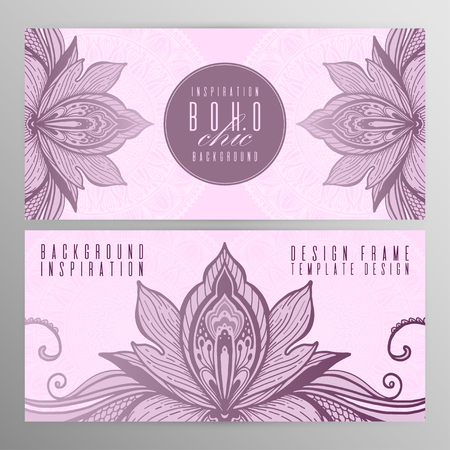 Vector vintage mandala lotus card set pink color. Oriental design Layout. Islam, Arabic, Indian, ottoman motifs. Front page and back page. Ethnic design. Boho chic style.  イラスト・ベクター素材