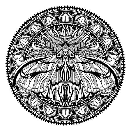 Magic Talisman religion Asian. Black color graphic in white background. Butterfly moth mandala illustration .Tattoo motif. Vektorové ilustrace
