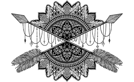 Arrow crossing amulet in ethical and mandala in style tattoo.Black color graphic in white background. Vector illustration Ilustração