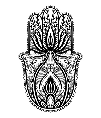 Magic Talisman hamsa religion Asian. Black color graphic in white background .Tattoo motif. Vector illustration