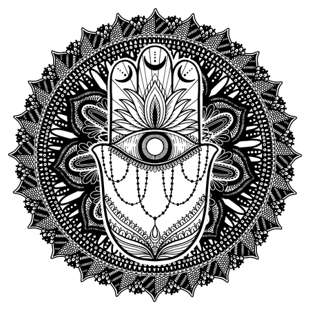 Magic Talisman hamsa religion Asian mandala. Black color graphic in white background .Tattoo motif. Vector illustration 일러스트