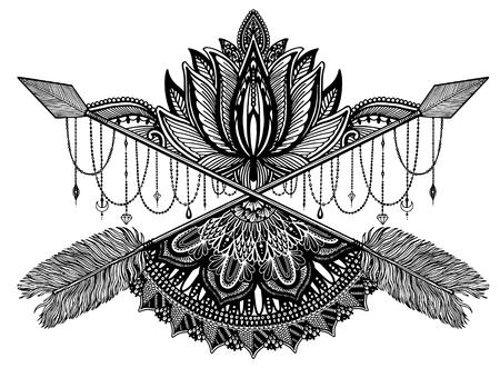 Pfeilkreuzendes Amulett in ethischem und Mandala und Lotus im Stiltätowierung. Schwarze Farbgrafik in weißem Hintergrund. Vektor-Illustration Vektorgrafik