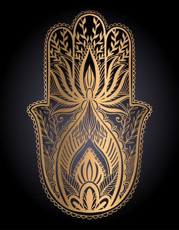 Magic Talisman hamsa religion Asian. gold color graphic in black background .Tattoo motif. Vector illustration Vettoriali